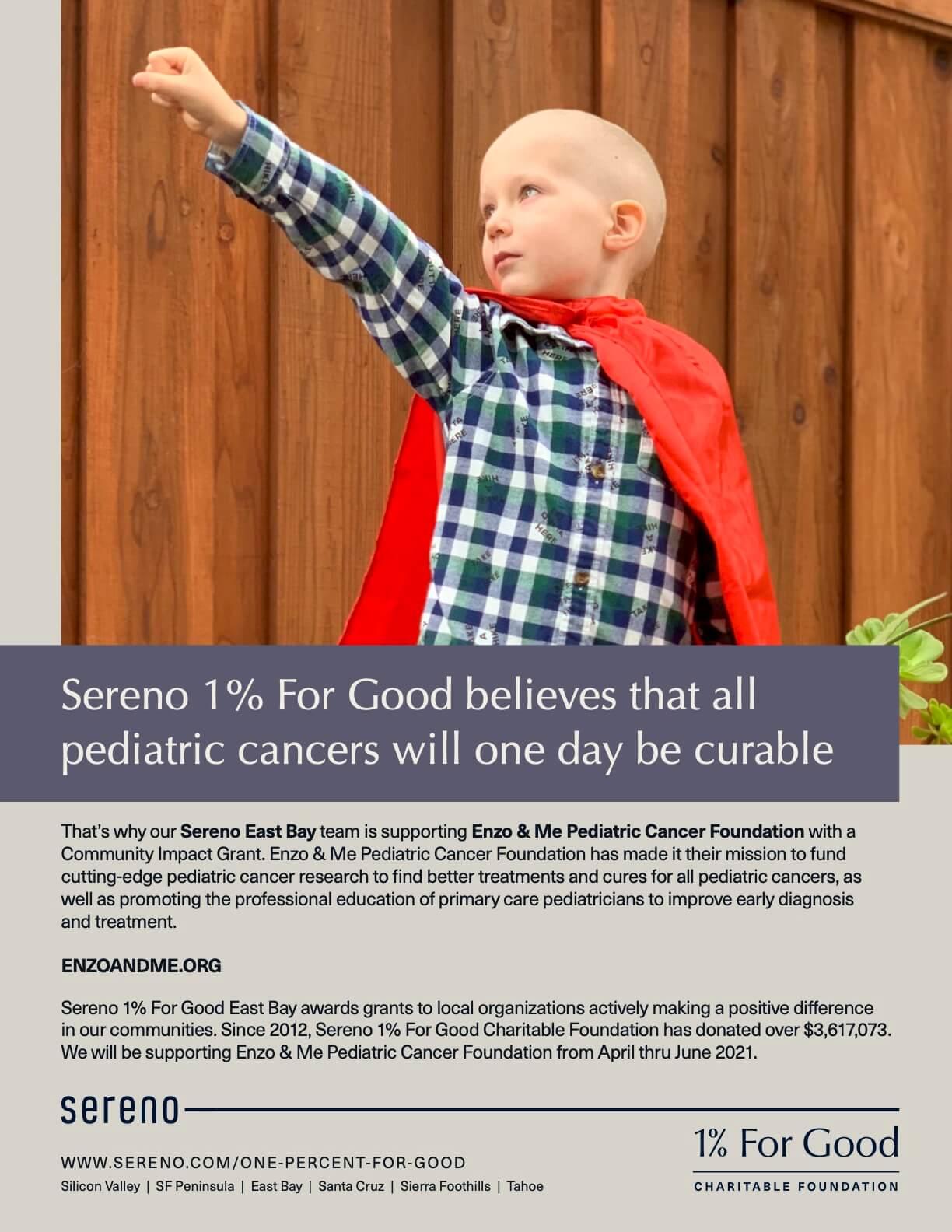 Sereno_OnePercent_EB_Enzo & Me Pediatric Cancer Foundation_Flyer